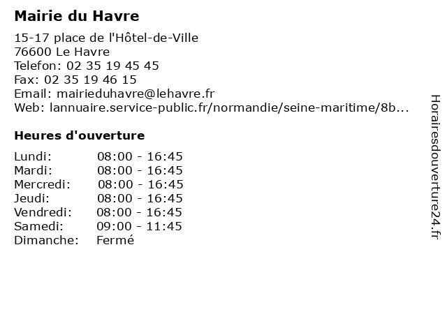 Mairie du Havre à Le Havre Cedex: adresse et heures d'ouverture