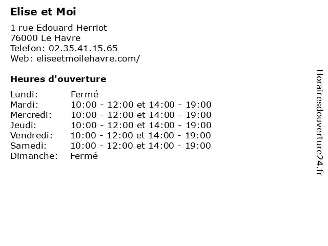 Elise et Moi à Le Havre: adresse et heures d'ouverture