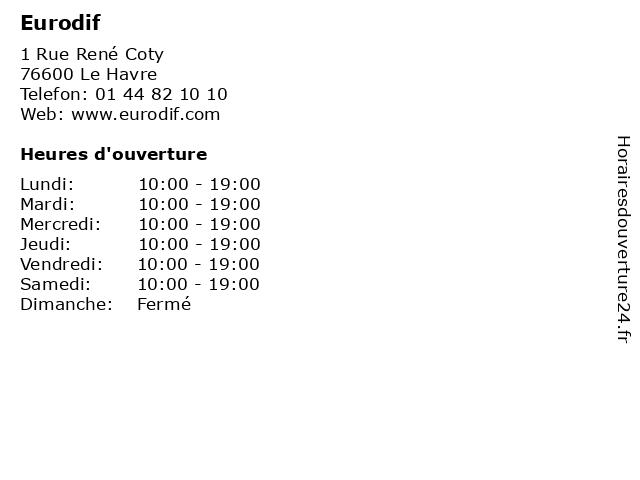 Eurodif à Le Havre: adresse et heures d'ouverture