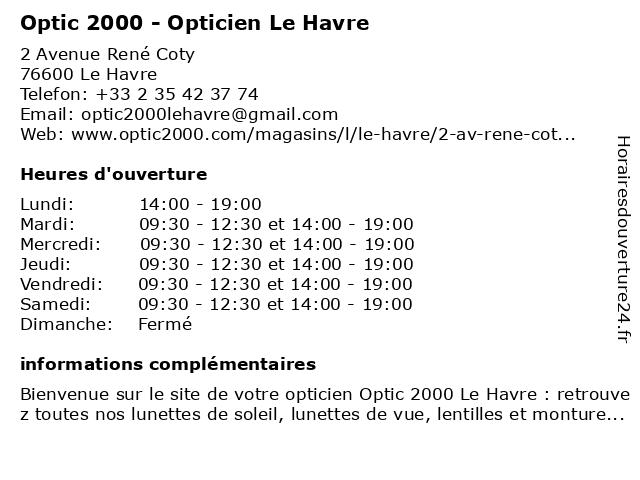 Opticien Optic 2000 Le Havre - Lunettes, lunettes de soleil, lentilles à Le Havre: adresse et heures d'ouverture