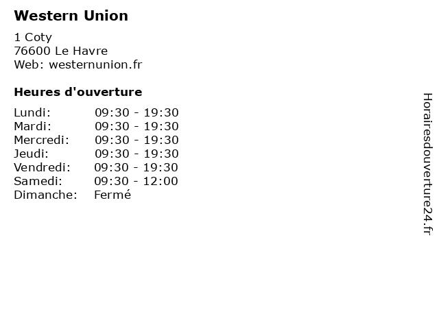 Western Union à Le Havre: adresse et heures d'ouverture