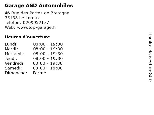 Garage ASD Automobiles à Le Loroux: adresse et heures d'ouverture