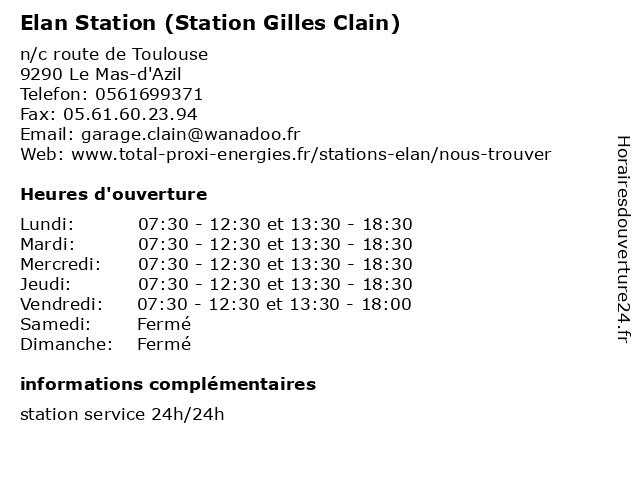 Elan Station (Station Gilles Clain) à Le Mas-d'Azil: adresse et heures d'ouverture