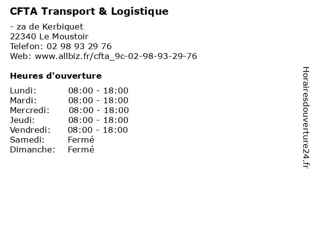 CFTA Transport & Logistique à Le Moustoir: adresse et heures d'ouverture