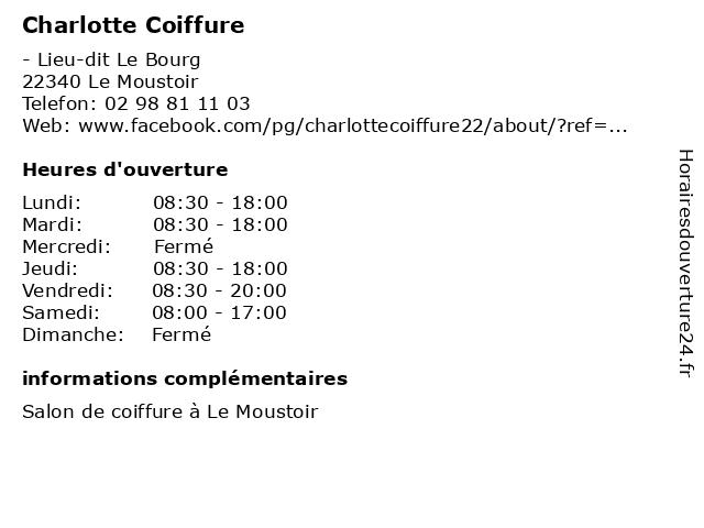 Charlotte Coiffure à Le Moustoir: adresse et heures d'ouverture