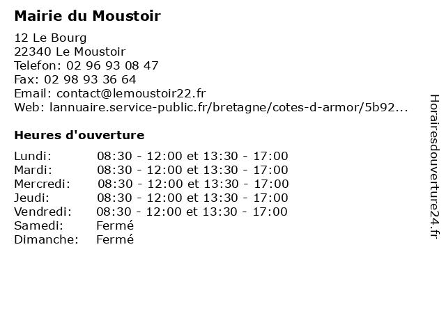 Mairie du Moustoir à Le Moustoir: adresse et heures d'ouverture