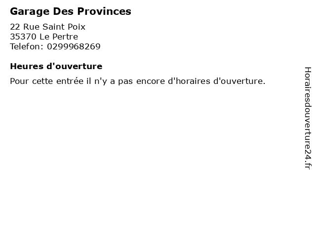 Garage Des Provinces à Le Pertre: adresse et heures d'ouverture