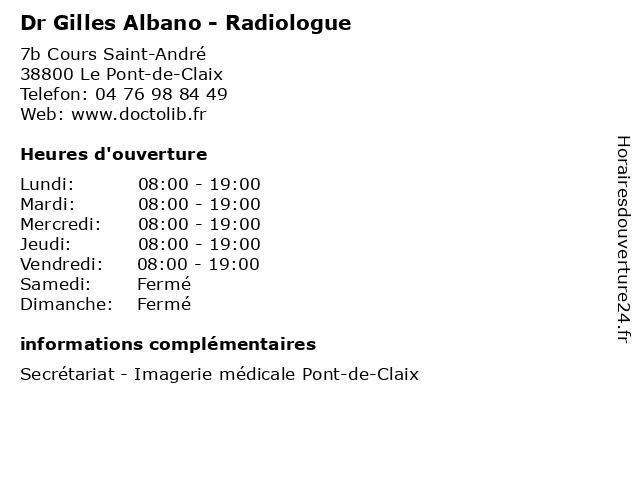 Dr Gilles Albano - Radiologue à Le Pont-de-Claix: adresse et heures d'ouverture