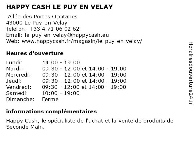 HAPPY CASH LE PUY EN VELAY à Le Puy-en-Velay: adresse et heures d'ouverture