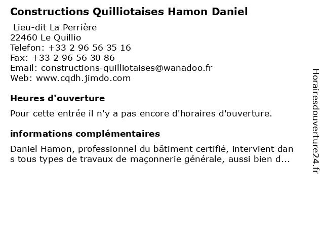 Constructions Quilliotaise Hamon Daniel à Le Quillio: adresse et heures d'ouverture