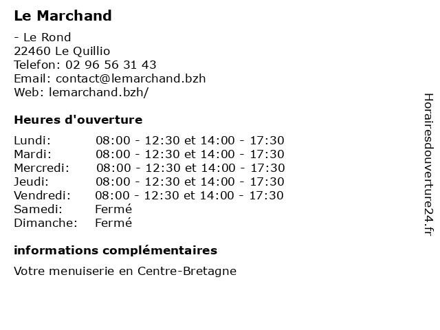 Le Marchand à Le Quillio: adresse et heures d'ouverture