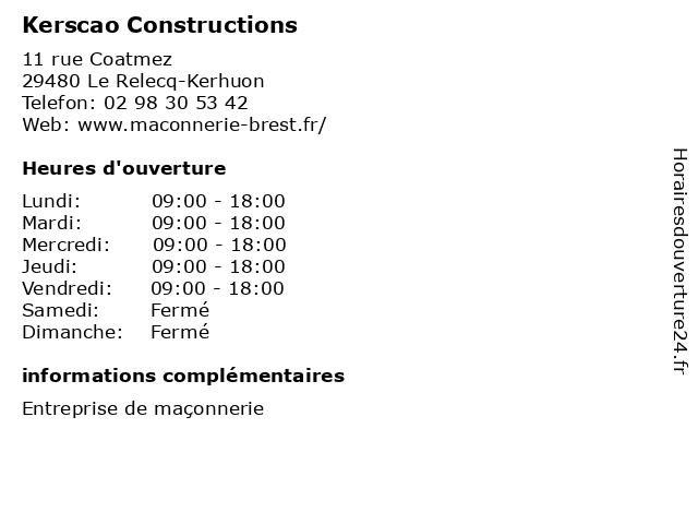Kerscao Constructions à Le Relecq-Kerhuon: adresse et heures d'ouverture