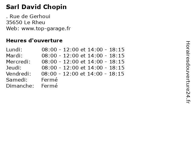 Sarl David Chopin à Le Rheu: adresse et heures d'ouverture