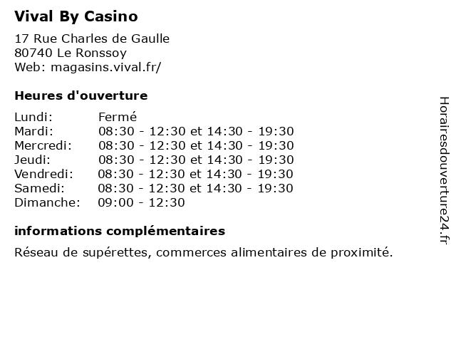 Vival By Casino à Le Ronssoy: adresse et heures d'ouverture