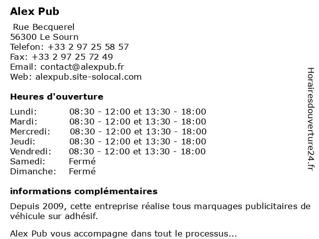 Alex Pub à Le Sourn: adresse et heures d'ouverture