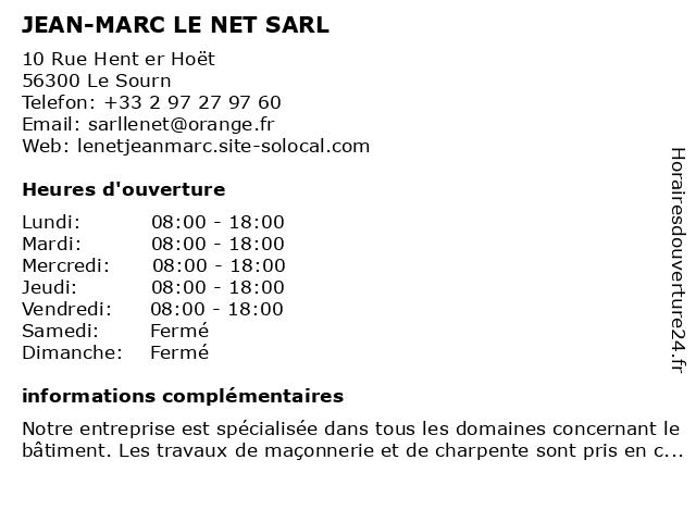 JEAN-MARC LE NET SARL à Le Sourn: adresse et heures d'ouverture