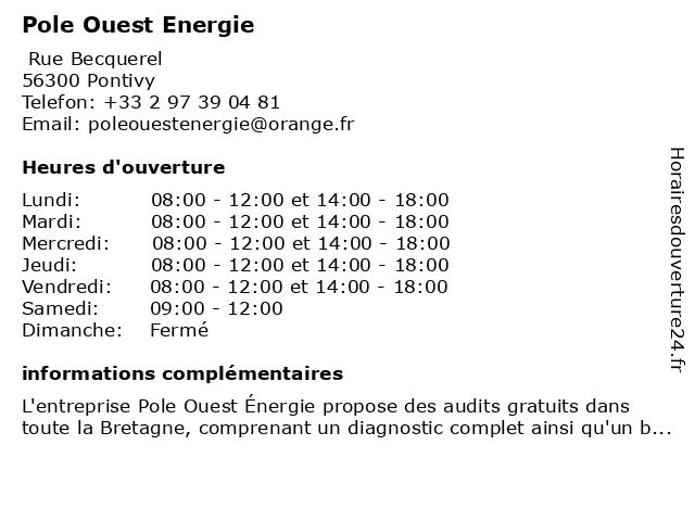 Pole Ouest Energie à Le Sourn: adresse et heures d'ouverture