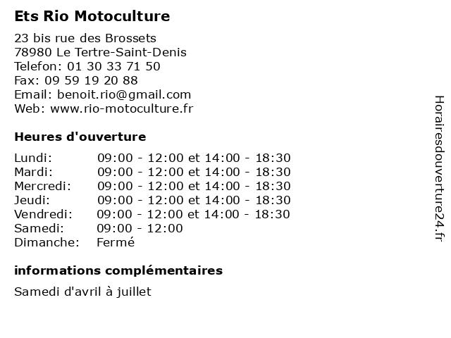 Ets Rio Motoculture à Le Tertre-Saint-Denis: adresse et heures d'ouverture