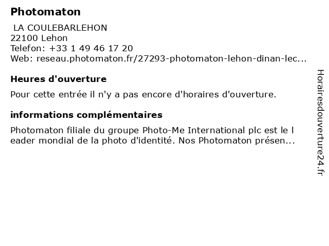 Photomaton à Lehon: adresse et heures d'ouverture