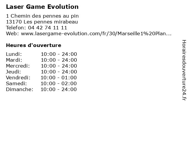 Laser Game Evolution à Les pennes mirabeau: adresse et heures d'ouverture