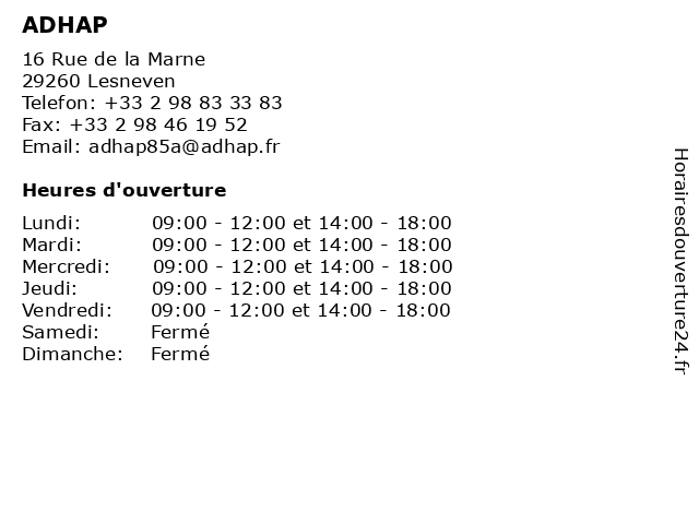 ADHAP à Lesneven: adresse et heures d'ouverture