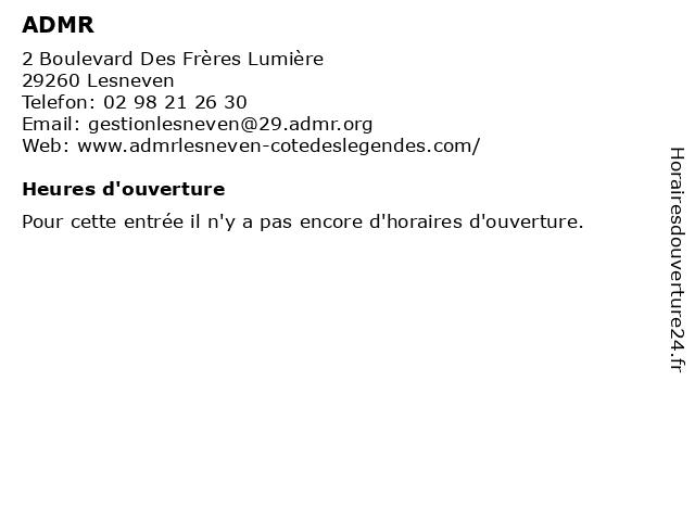 ADMR à Lesneven: adresse et heures d'ouverture