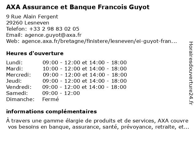 AXA Assurance FRANCOIS GUYOT à Lesneven: adresse et heures d'ouverture