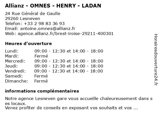 Allianz - OMNES - HENRY - LADAN à Lesneven: adresse et heures d'ouverture