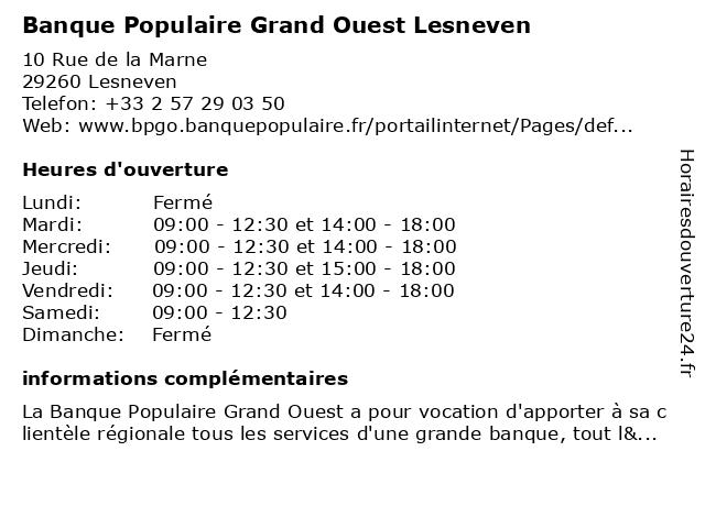 Banque Populaire Grand Ouest Lesneven à Lesneven: adresse et heures d'ouverture