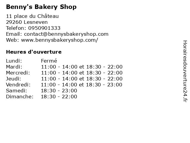 Benny's Bakery Shop à Lesneven: adresse et heures d'ouverture