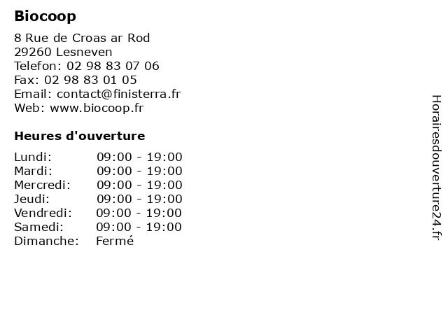 Biocoop à Lesneven: adresse et heures d'ouverture