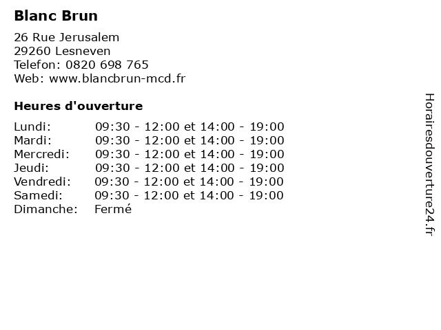 Blanc Brun à Lesneven: adresse et heures d'ouverture