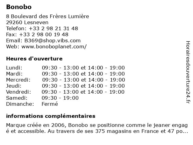 Bonobo à Lesneven: adresse et heures d'ouverture