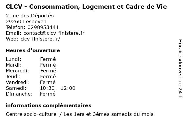 CLCV - Consommation, Logement et Cadre de Vie à Lesneven: adresse et heures d'ouverture