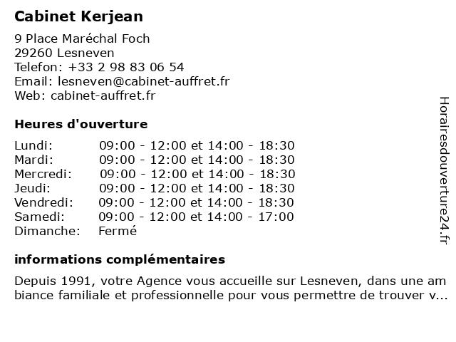 Cabinet Kerjean à Lesneven: adresse et heures d'ouverture