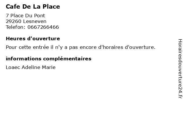 Cafe De La Place à Lesneven: adresse et heures d'ouverture