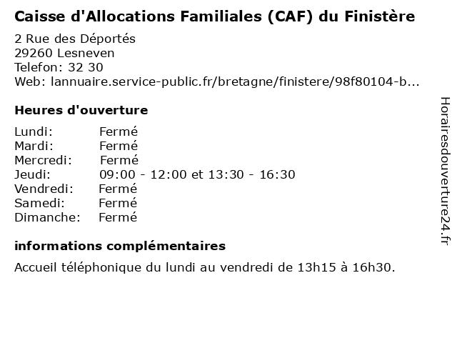 Caisse D'Allocations Familiales à Lesneven: adresse et heures d'ouverture