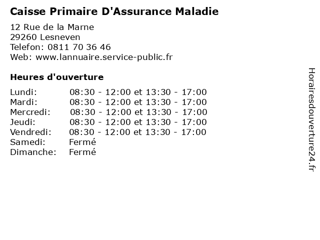 Caisse Primaire D'Assurance Maladie à Lesneven: adresse et heures d'ouverture
