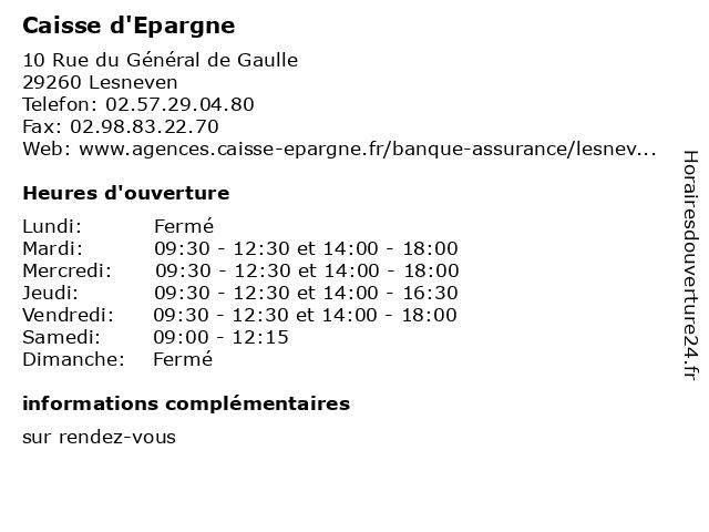 Caisse d'Epargne à Lesneven: adresse et heures d'ouverture