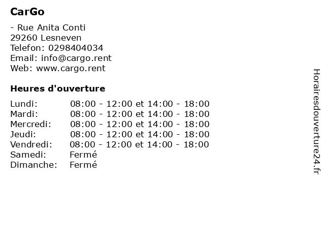 CarGo à Lesneven: adresse et heures d'ouverture