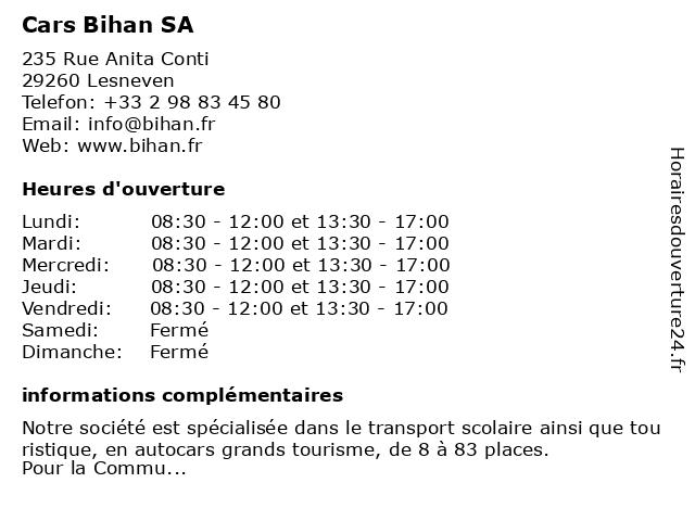Cars Bihan SA à Lesneven: adresse et heures d'ouverture