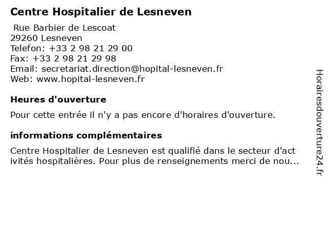 Centre Hospitalier de Lesneven à Lesneven: adresse et heures d'ouverture