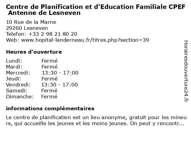 Centre de Planification et d'Education Familiale CPEF Antenne de Lesneven à Lesneven: adresse et heures d'ouverture