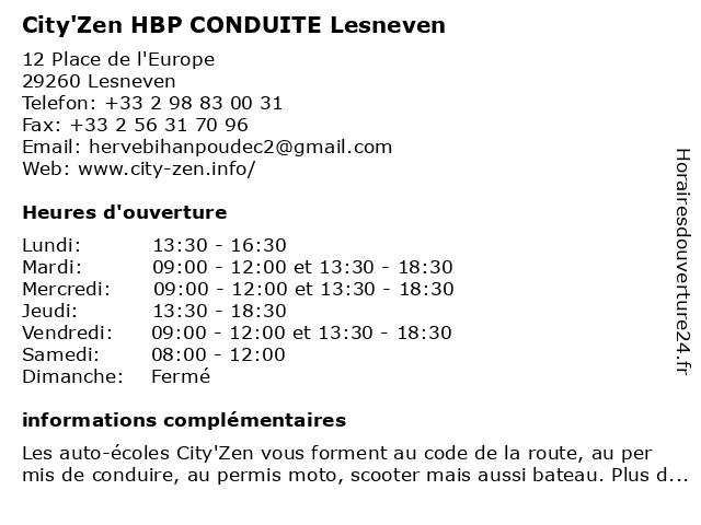 City'Zen HBP CONDUITE Lesneven à Lesneven: adresse et heures d'ouverture
