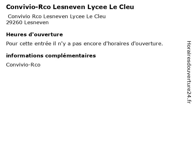 Convivio-Rco Lesneven Lycee Le Cleu à Lesneven: adresse et heures d'ouverture