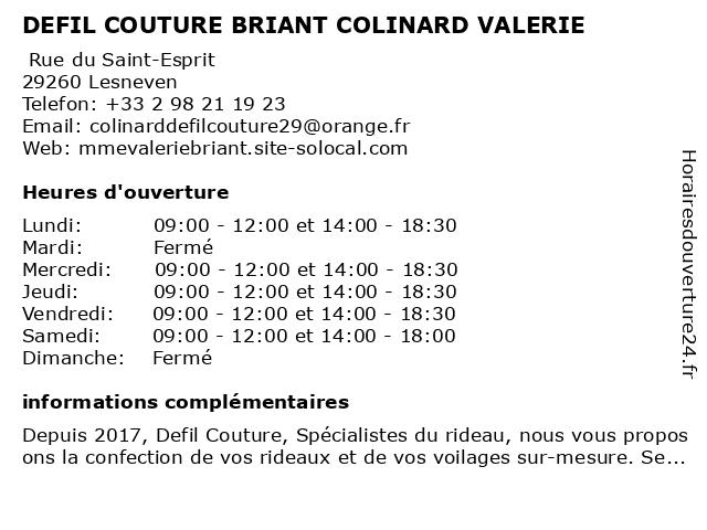 DEFIL COUTURE BRIANT COLINARD VALERIE à Lesneven: adresse et heures d'ouverture