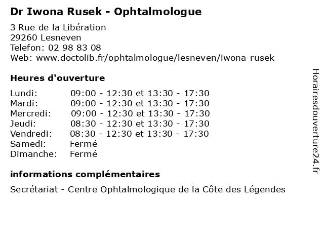 Dr Iwona Rusek - Ophtalmologue à Lesneven: adresse et heures d'ouverture