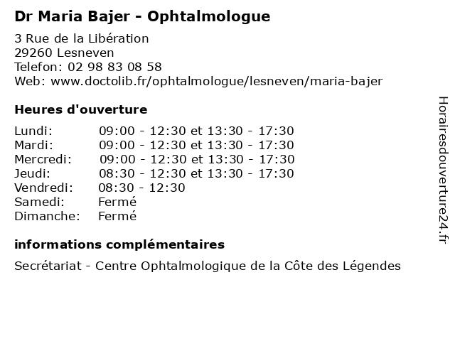 Dr Maria Bajer - Ophtalmologue à Lesneven: adresse et heures d'ouverture