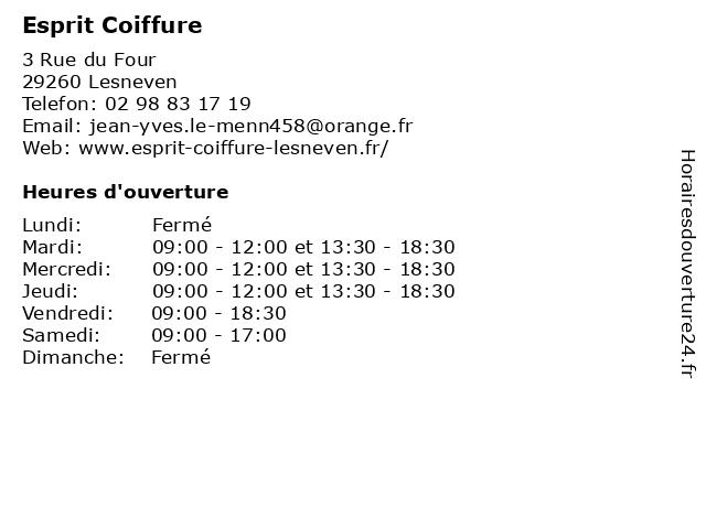 Esprit Coiffure à Lesneven: adresse et heures d'ouverture
