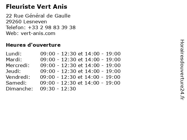 Fleuriste Vert Anis à Lesneven: adresse et heures d'ouverture